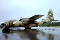955 @ EGVI - Lockheed C-130H Hercules [4337] (Royal Norwegian Air Force) RAF Greenham Common~G 24/06/1979. From a slide. Taken during a downpour. - by Ray Barber