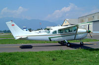 HB-CSS @ LSZL - Cessna 210F Centurion [210-58757] Locarno~HB 21/07/2004. Seen here unmarked.