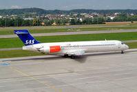 LN-RMH @ LSZH - Douglas DC-9-87 [49612] (SAS Scandinavian Airlines) Zurich~HB 22/07/2004 - by Ray Barber
