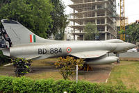 DB884 - On display at the Visvesvaraya Industrial and Technological Museum, Bangalore. Designed by Dr. Kurt Tank in 1956, a total of 147 Maruts were built. This example has four drop tanks and was recently repainted by HAL. - by Arjun Sarup