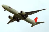 JA736J @ EGLL - Boeing 777-346ER [32435] (Japan Airlines) Home~G 13/07/2012. On approach 27R.
