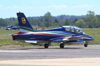MM54487 @ LFSX - Italian Air Force Aermacchi MB-339PAN, N°8 of Frecce Tricolori Aerobatic Team 2015, Taxiing to holding point, Luxeuil-Saint Sauveur Air Base 116 (LFSX) Open day 2015 - by Yves-Q
