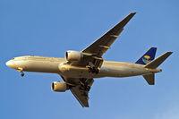 HZ-AKG @ EGLL - Boeing 777-268ER [28350] (Saudi Arabian Airlines) Home~G 27/09/2009. On approach 27R.