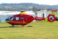 G-HWAA @ EGBC - Eurocopter EC.135T2 [0375] {Bond Air Services/Midlands Air Ambulance) Cheltenham Racecourse~G 10/03/2015