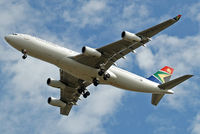ZS-SLA @ EGLL - Airbus A340-212 [008] (South African Airways) Home~G 21/08/2009. On approach 27R.