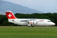 HB-IXK @ LSGG - Avro 146-RJ85 [E2235] (Swiss European Air Lines) Geneva-International~HB 23/07/2004. Prior to One World logo added between cockpit and forward door.