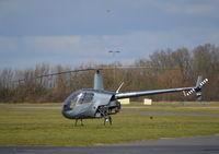 G-OBIL @ EGTB - Robinson R22 Beta II at Wycombe Air Park. - by moxy