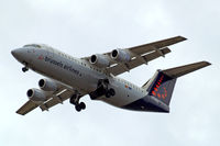 OO-DWD @ EGLL - British Aerospace BAe 146-RJ100 [E3324] (Brussels Airlines) Home~G 01/07/2010. On approach 27R.
