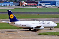 D-ABMB @ EGLL - Boeing 737-230 [23154] (Lufthansa) Heathrow~G 28/02/1992 - by Ray Barber