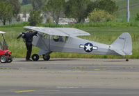 N239H @ O69 - Do you know why I pulled you over, Sir?! Locally-based Haywood CWJ-3 Clipped Wing Cub homebuilt taxiing at Petaluma Municipal Airport, CA with visitor in golf cart - by Steve Nation