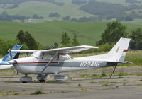 N734NE @ O69 - April 2016 After the Winter Rains Came! Locally-based 1977 Cessna 172N rests on the ramp @ Petaluma Municipal Airport, CA home base. Compare how the foothills look here with my October 2005 photo of the same aircraft, same location. - by Steve Nation