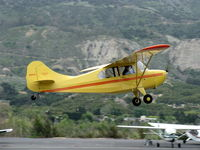 N84171 @ SZP - 1946 Aeronca 7AC CHAMPION, Continental A&C65 65 Hp, initial takeoff climb of the day Rwy 22, will do some pattern work - by Doug Robertson