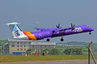 G-PRPB @ EGFF - Dash 8,Flybe, call sign Jersey 284, seen departing runway 12en-route to Belfast City. - by Derek Flewin