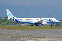 G-FBEK @ EGFF - Embraer 195LR, Flybe, call sign Jersey 862J, previously PT-SDC, seen departing runway 12 en-route to Glasgow. - by Derek Flewin