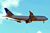 N105UA @ EGLL - Boeing 747-451 [26473] (United Airlines) Home~G 07/09/2013. On approach 27L