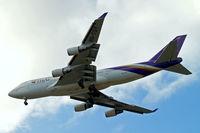 HS-TGY @ EGLL - Boeing 747-4D7 [28705] (Thai Airways) Home~G 28/07/2013. On approach 27R.