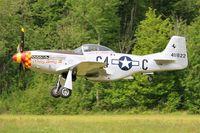 F-AZSB @ LFFQ - North American P-51D Mustang, Take off rwy 28, La Ferté-Alais (LFFQ) Air show 2015 - by Yves-Q