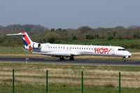 F-HMLN @ LFRB - Bombardier CRJ-1000EL NG, Reverse thrust landing rwy 07R, Brest-Bretagne Airport (LFRB-BES) - by Yves-Q