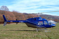 G-BBCA @ EGBC - Bell 206B-2 Jet Ranger II [1101] (Heliflight) Cheltenham Racecourse~G 16/03/2004. Minus wording in between stripes behind cabin compared to later image.