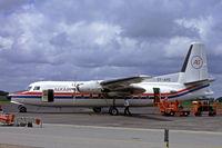 OY-APE @ EKEB - OY-APE   Fokker F-27 Friendship 600 [10443] (Alkair) Esbjerg~OY 14/06/1985. From a slide.