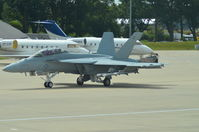 168930 @ EGLF - F/A-18 Super Hornet taxing out for validation flight - by Syed Rasheed