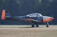 D-EFLM @ EDST - Rolling out after a landing at the 2016 Hahnweide Oldtimer Fliegertreffen - by alanh