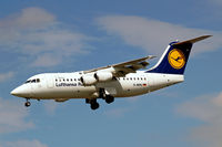 D-AVRJ @ EGLL - D-AVRJ    BAe 146-RJ85 [E2277] (Lufthansa Regional) Heathrow~G 01/09/2006. On finals 27L.