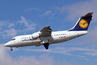 D-AVRJ @ EGLL - D-AVRJ    BAe 146-RJ85 [E2277] (Lufthansa Regional) Heathrow~G 01/09/2006. On finals 27L. - by Ray Barber