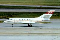 OY-BDS @ EGLL - Dassault Falcon 20C [180] (Danfoss Aviation) Heathrow~G @ 26/01/1977. From a slide not the best of shots.