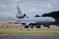 83-0077 @ EGUN - Assigned to the 60th / 349th Air Mobility Wing at Travis AFB, KC-10A 83-0077 taxis at RAF Fairford for Departure after arriving with the F-35's for the Royal International Air Tattoo - by Steve Buckley