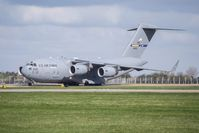 04-4128 @ EGUN - Assigned to the 305th/514th AMW, C-17A 04-4128 04-4128 holds at Alpha, before departing from Mildenhall with RCH291 - by Steve Buckley