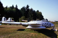 17058 @ N.A. - De Havilland Vampire F.3 on the grass of the Canadian Museum of Flight & Transportation, Vancouver, B.C., 1987 - by Van Propeller