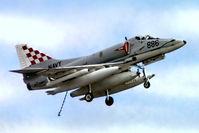 N13-154907 @ EGVI - Douglas A-4G Skyhawk [13780] (Royal Australian Navy) RAF Greenham Common~G 26/06/1977. From a slide .Shown with arrester hook down.