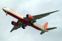 VT-ALU @ EGLL - VT-ALU   Boeing 777-337ER [36319] (Air India) Home~G 27/10/2010. On approach 27R. Wears Delhi 2010 special titles.