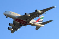 A6-EEN @ EGLL - Airbus A380-861 [135] (Emirates Airlines) Home~G 16/03/2014. On approach 27R. - by Ray Barber