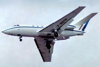 F-BSTR @ EGLF - Dassault Falcon 20F [246] (Europe Falcon Service) Farnborough~G 08/09/1974. From a slide.