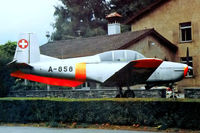 A-858 @ LSZL - Pilatus P.3-05 [496-45] (Swiss Air Force) Locarno~HB 11/09/1991. Gate guard. - by Ray Barber