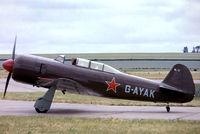 G-AYAK @ EGSU - Yakovlev Yak-C11 [172701] Duxford~G 28/06/1975. From a slide.