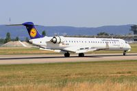 D-ACKI @ LFSB - Canadair Regional Jet CRJ-900LR, Reverse thrust landing rwy 15, Bâle-Mulhouse-Fribourg airport (LFSB-BSL) - by Yves-Q