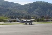 N1274M @ SZP - 1975 Cessna 182P SKYLANE, Continental O-470-S 230 Hp, landing roll Rwy 22 - by Doug Robertson
