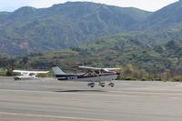 N1274M @ SZP - 1975 Cessna 182P SKYLANE, Continental O-470-S 230 Hp, landing Rwy 22 - by Doug Robertson