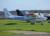 G-BGIB @ EGTF - Cessna 152 at Fairoaks. Ex N68169 - by moxy