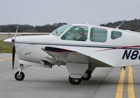 N808R @ KHAF - KRHV based 1960 Beechcraft Debonair taxing out for departure at Half Moon Bay Airport, CA.