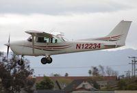 N12234 @ KRHV - Locally-based 1973 Cessna 172M landing at Reid Hillview Airport, San Jose, CA. - by Chris Leipelt