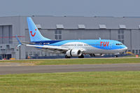 G-TAWC @ EGFF - 737-8K5, Thomson Airways, previously G-TAWC, C-FAWC, callsign Thomson 26G, seen landing on runway 12 out of Alicante Spain. - by Derek Flewin
