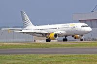 EC-LAA @ EGFF - A320-214, Vueling Airlines, callsign Vueling 83QL, previously F-WWIQ, EC-JPL, A6-ABZ , seen landing on runway 12 out of Alicante Spain. - by Derek Flewin