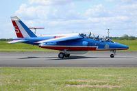 E166 @ LFOA - Dassault Dornier Alphajet (F-UHRW), Athos 05 of Patrouille de France 2016, Avord Air Base 702 (LFOA) Open day 2016 - by Yves-Q
