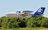 D-ISAV @ EGFH - Visiting Cessna 402B survey aircraft departing Runway 22 - by Roger Winser