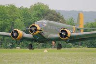 F-AZJU @ LFFQ - Junkers (CASA) 352L (Ju-52), Take off rwy 28, La Ferté-Alais airfield (LFFQ) Air show 2016 - by Yves-Q
