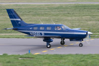 N866LP @ EGJB - Taxiing to park at Guernsey - by alanh